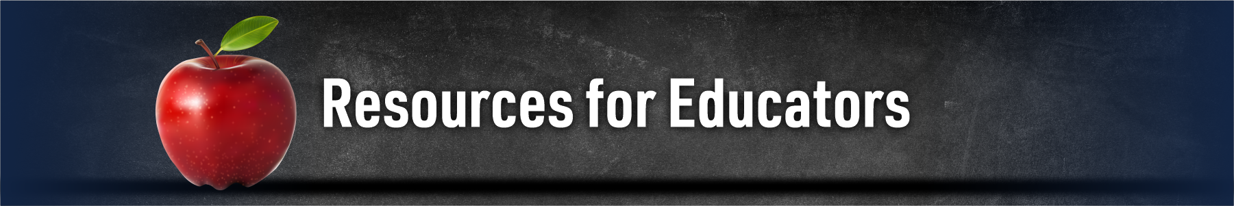 Red apple with text that reads Resources for Educators